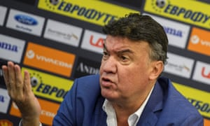 Borislav Mihaylov speaking during the press conference in Sofia during which he confirmed his resignation as president of the Bulgarian Football Union.