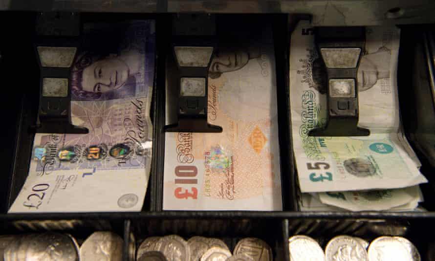A till full of sterling notes