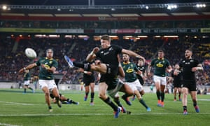 Beauden Barrett of the All Blacks clears a kick during the 2019 Rugby Championship Test Match against South Africa in July 2019.