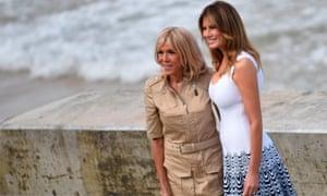 Brigitte Macron and Melania Trump in Biarritz during the 2019 G7 summit.