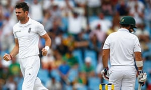 James Anderson takes the wicket of outh Africa's Dean Elgar with some tough bowling.