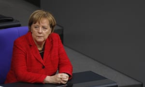 Angela Merkel at the first session of the Bundestag.