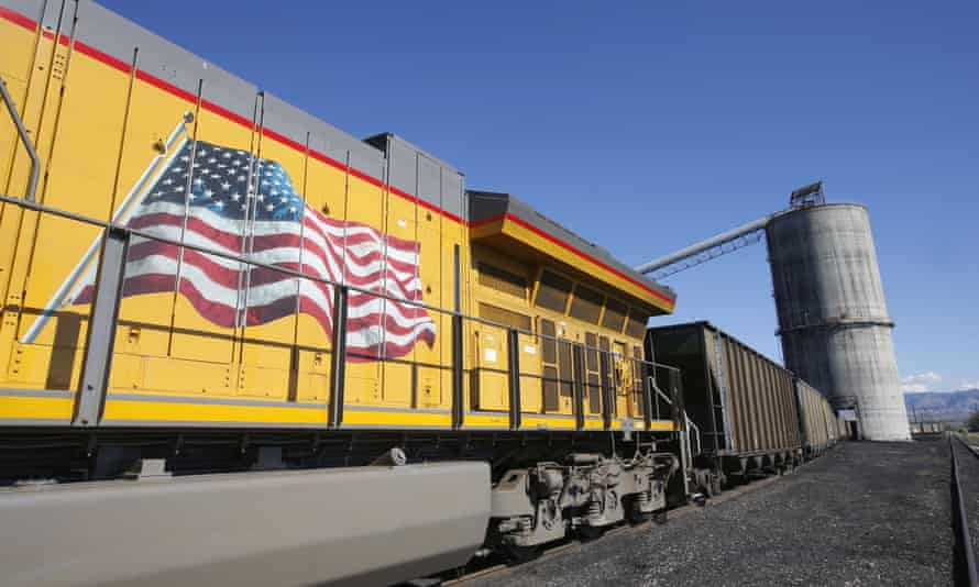 An American flag is displayed on Union Pacific Corp train as it is loaded with coal at the Savage Industries Co processing facility in Price, Utah, in 2016.