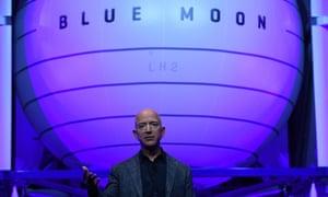 Jeff Bezos unveils his space company Blue Origin's space exploration lunar lander rocket called Blue Moon in Washington DC.