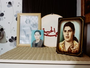 "Dresser, picture of Grandma, the words ""Dear mother"" embroidered in Arabic on circular tapestry, Majdoleen's parents' bedroom, Kafr Kanna"