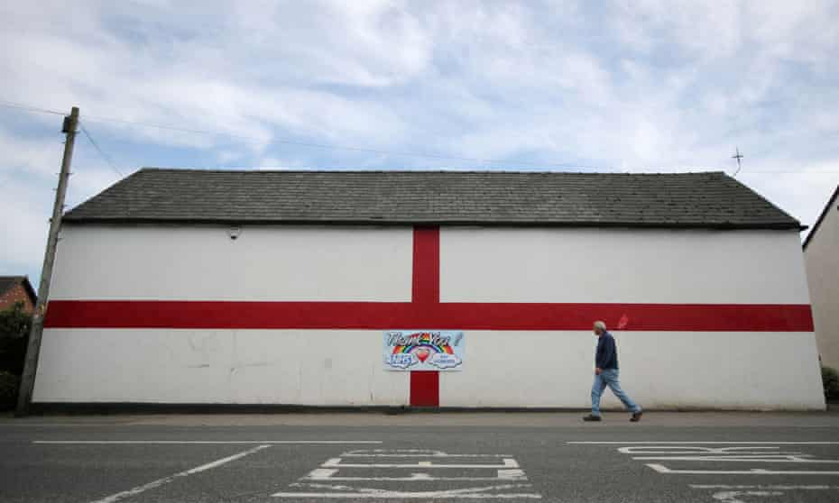 A St George's flag painted on a building in Northwich, Cheshire.