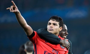 PSG's captain Thiago Silva celebrates after his goal knocked Chelsea out of the Champions League