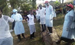 Red Cross volunteers on Ukara Island in Lake Victoria.