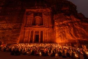 the Treasury at Petra at night