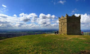 Visitors to Rivington Pike on a sunny day
