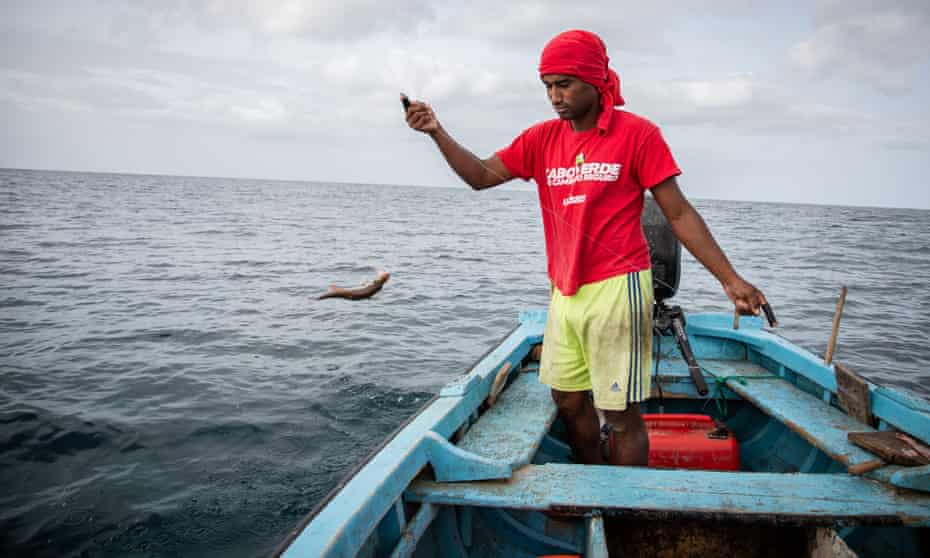 Carlitos Fernandes fishes on his home island of Maio in Cape Verde
