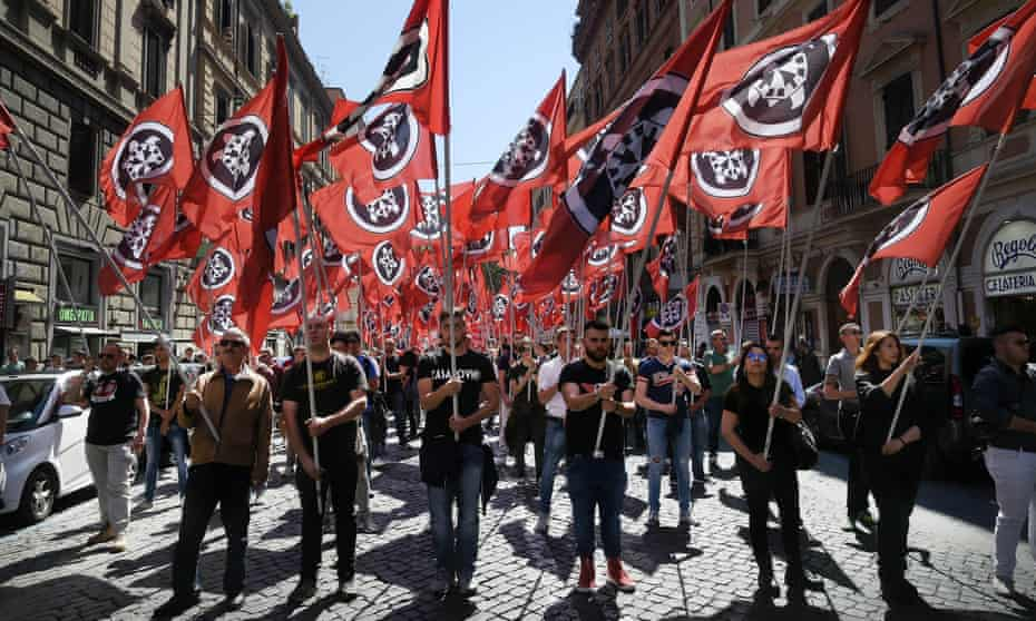 A casaPound march in Rome, May, 2016.