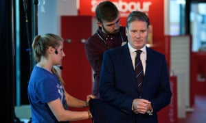 Shadow Brexit secretary Keir Starmer prepares for an interview.