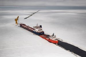 The Gazprom Neft Arctic Gate terminal and Novy port tanker in the Gulf of Ob, Cape Kamenny