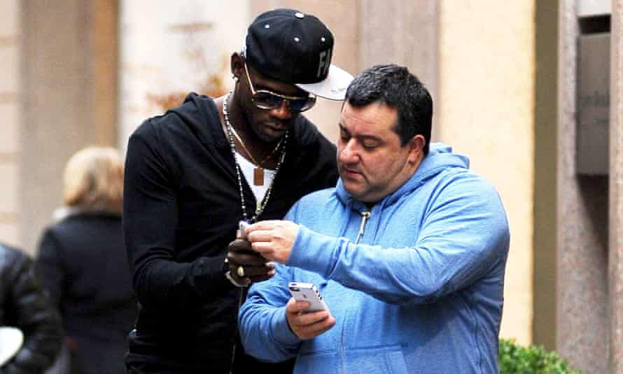 Mino Raiola (right), photographed with Mario Balotelli in Milan in 2013