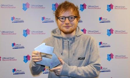 The Sheeran singularity beckons … Ed Sheeran marking his chart achievements.