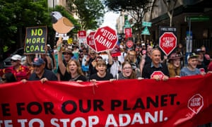 Protesters rally against the Adani coalmine