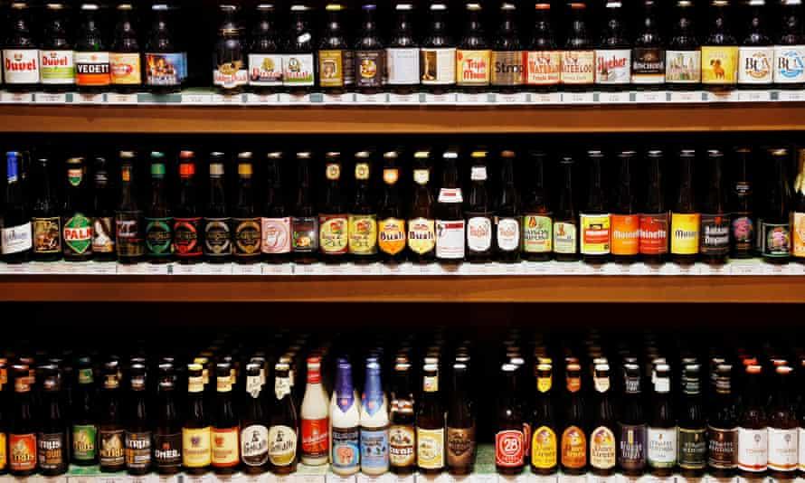 Bottles of Belgian beer in a shop in Brussels