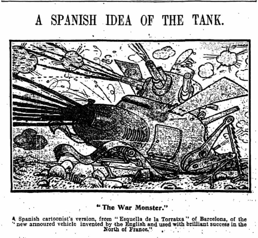 A Spanish cartoon, published in the Manchester Guardian 9 October 1916, imagining how a tank might look. Photographs of the new machines did not emerge in the paper until November.