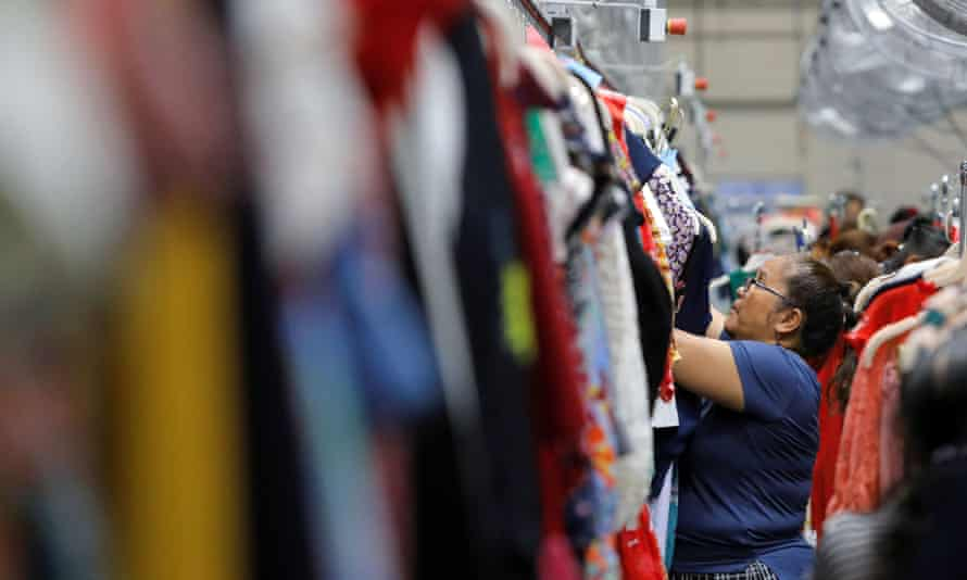 A quality controller working at Rent the Runway's 'Dream Fulfillment Center' in New Jersey.