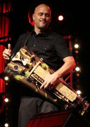 Versatility … Grégory Jolivet plays the hurdy gurdy.
