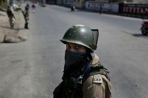 A paramilitary soldier in Srinagar, India