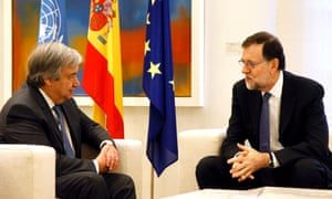 Mariano Rajoy, the Spanish prime minister, and Guterres speak during a meeting at La Moncloa palace in Madrid.