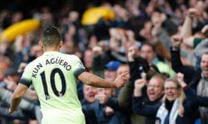 Sergio Aguero celebrates after scoring again.