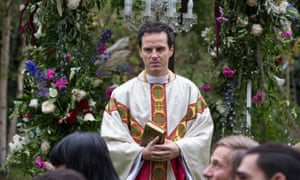 Kneeling in church will never be the same again … Andrew Scott as Priest.