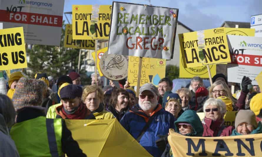 Anti-fracking demonstrators in Blackpool
