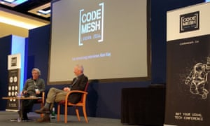 Final keynote of Code Mesh 2016 - Joe Armstrong and Alan Kay are seated onstage before the talk begins
