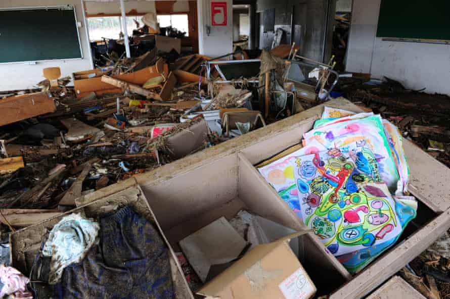 Debris in a second-floor classroom at Okawa elementary school.