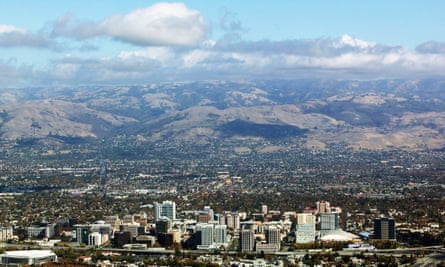 Aerial view above San Jose in Silicon Valley in California.