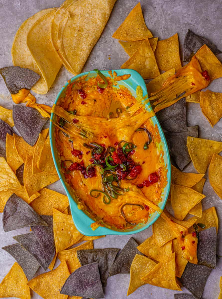Queso fundido with rajas and chorizo, by Edson Diaz-Fuentes. Food styling: Henrietta Clancy