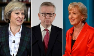 The three favourites to win the Conservative Party leadership: Theresa May, Michael Gove and Andrea Leadsom.