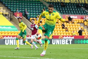 Norwich City's Ben Godfrey scores an own goal and Burnley's second.