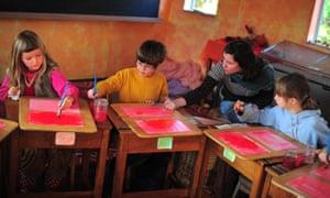 Children in a class at a Steiner school