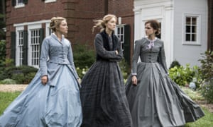 From left, Florence Pugh, Saoirse Ronan and Emma Watson in a scene from Little Women.