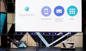 Clay Bavor introduces Daydream during the Google I/O 2016 developers conference in Mountain View, California.