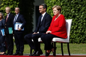 German Chancellor Angela Merkel (CDU) and Greek Prime Minister Kyriakos Mitsotakis review the military Guard of honour in the courtyard of the the German Chancellery today