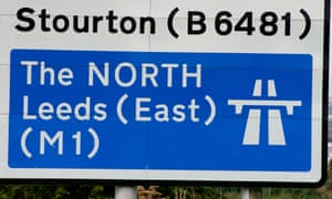 Motorway Route Sign Near Leeds Yorkshire England