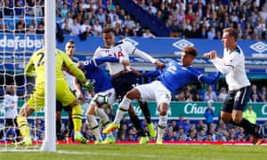 Action during Everton's 1-1 draw with Tottenham.