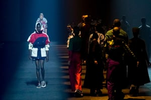 Kenzo  The designers Carol Lim and Humberto Leon bid farewell to the brand after eight years in spectacular style. For the occasion, they took it back to Japan, the home of the brand's founder, Kenzo Takada, and booked Solange to play them out. Joined by her band, the superstar's lilts provided the soundtrack to a collection that stemmed from the female free-divers, known as the Ama, who dive daily to the bottom of the ocean to recover treasures. It was heavy on intricate iridescent embellishment, embroidered crocheted dresses and woodblock prints, while archive outfits danced in the shadows.