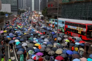 Anti-government protesters took to the streets against the government's use of emergency powers to ban face masks in public in a bid to end the city's protests on the 6th October, 2019.
