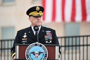 US Chairman of the Joint Chiefs of Staff General Mark Milley gives remarks during the 19th annual September 11 observance ceremony at the Pentagon in Arlington, Virginia, earlier today.