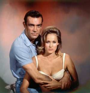 On the set of Dr No with Swiss actor Ursula Andress, 1962