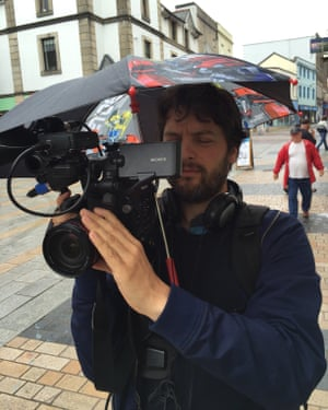John Domokos filming in Merthyr Tydfil in 2016
