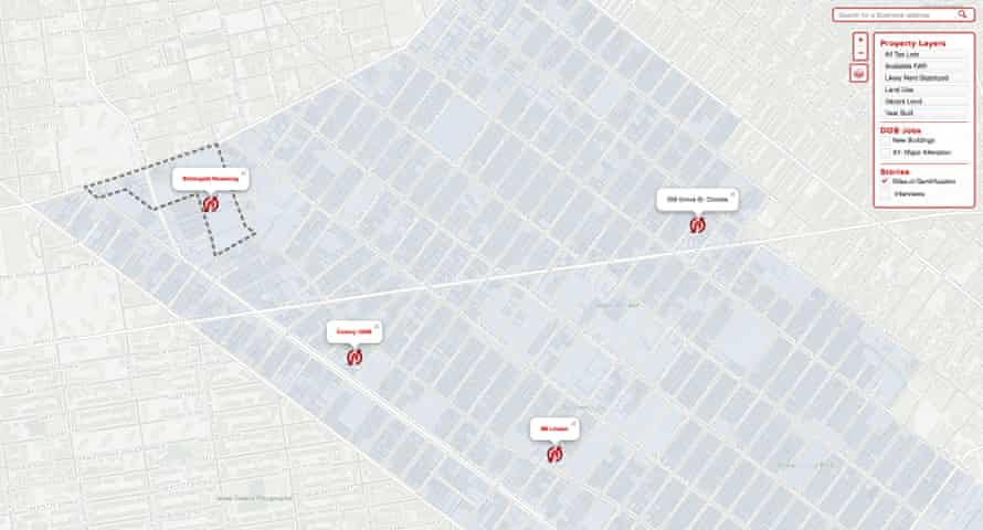 Activists in the Brooklyn neighbourhoods of Bushwick created an interactive mapping resource to track gentrification. Graphic by North West Bushwick Community Map project