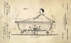 USA, 1900 A rocking bath tub designed by Otto A. Hensel. The bath tub was designed to splash water against the bather. Victorian-era water therapy was a popular treatment for a variety of ailments.