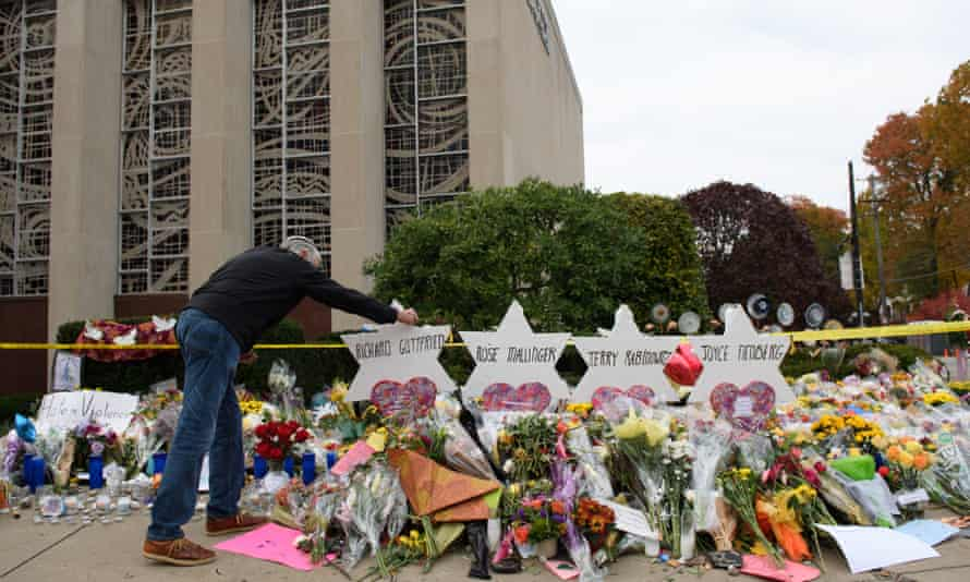 Mourners visit the memorial outside the Tree of Life synagogue in Pittsburgh, Pennsylvania.